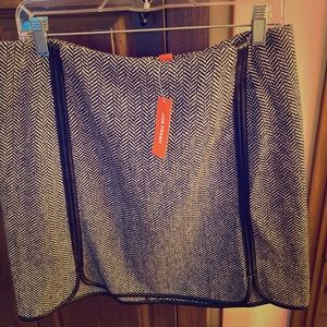 """Grey/black """"wool"""" skirt faux leather insert NEW"""